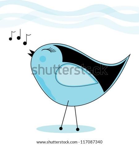 Singing Bird - stock vector
