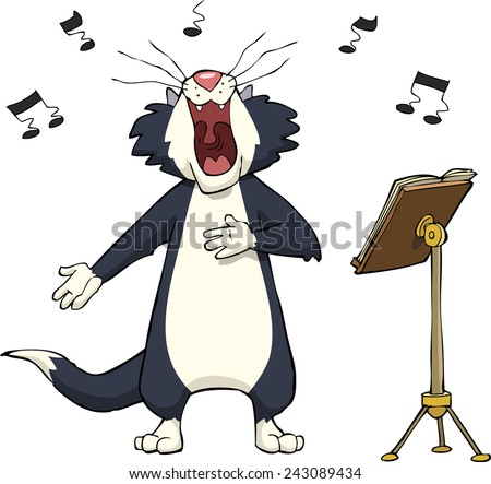 Singing cat on a white background vector illustration - stock vector