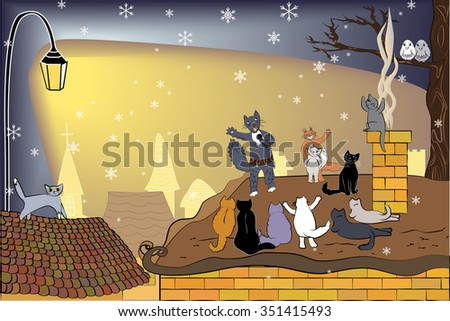 Singing cat with microphone and his audience. Winter background with cute cats. Singer cat on the roof and his fans. February serenade. Cats concert.