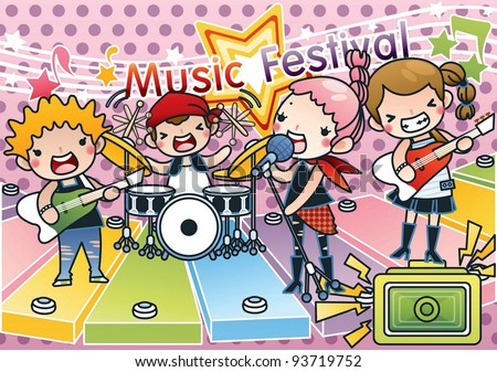 Singing Cute Young Children with Happy Music Festival - Rock & Roll Kids with various musical instruments on pink background with dot pattern : vector illustration