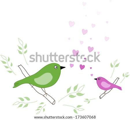 Singing Love Birds  - stock vector