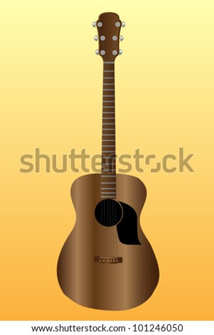 Single acoustic guitar on yellow background - stock vector