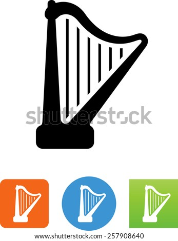 Single-action pedal harp. Vector icons for video, mobile apps, Web sites and print projects.  - stock vector
