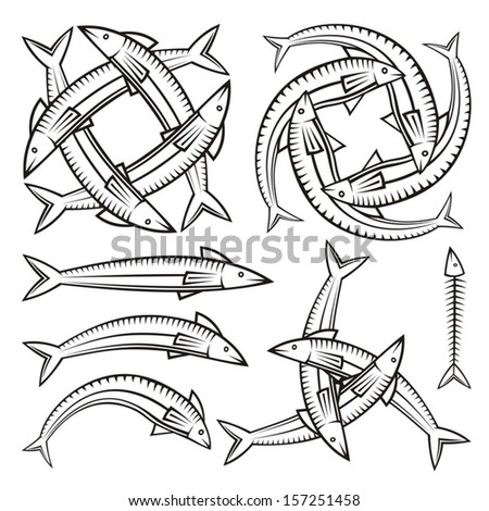 Single and entwined fish icons isolated on white background.