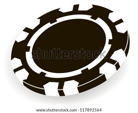 single black casino chip isolated on white background - stock vector
