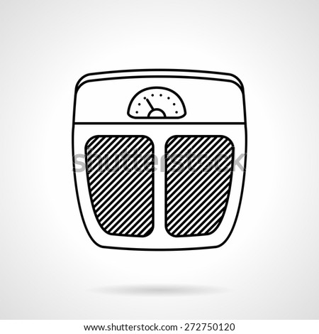Single black line vector icon for analog floor scales on white background. - stock vector