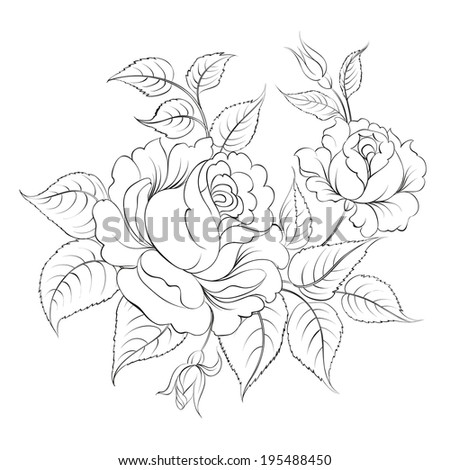 Single black rose ink painted. Vector illustration. - stock vector