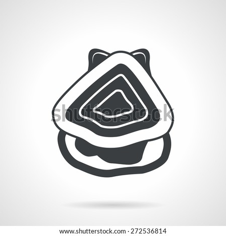 Single black silhouette icon for open oyster a top view on white background. Seafood menu - stock vector