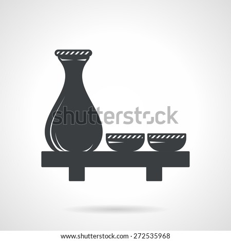 Single black silhouette icon for sake set with jug and two cups on the table on white background. - stock vector