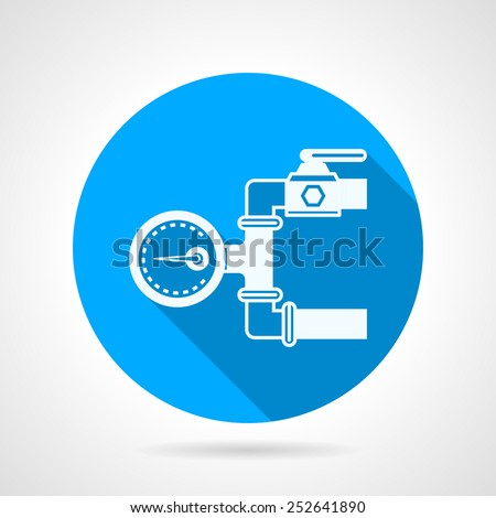 Single blue flat vector icon with white silhouette hydraulic pressure gauge for underfloor heating on gray background with long shadow. - stock vector