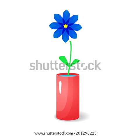 Single blue flower in red glossy vase with elements of transparency and isolated on background, vector holiday illustration