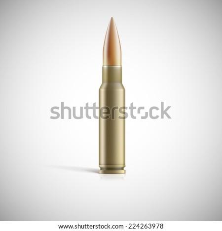 Single bullet. Cartridge for rifle or AK 47 - stock vector