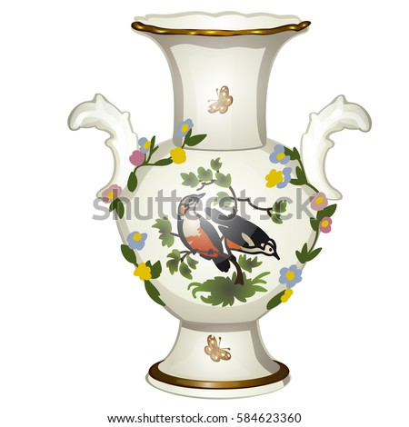 Single ceramic floor vase with Oriental ornaments isolated on a white background. Cartoon vector close-up illustration.