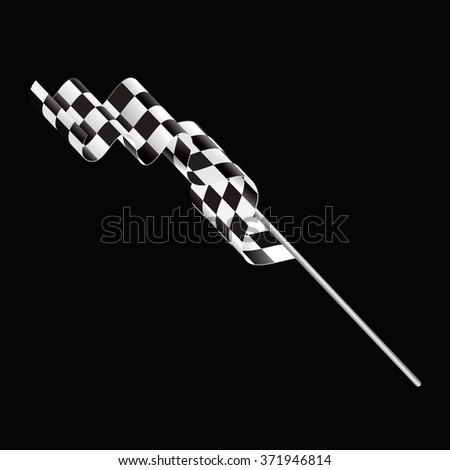 Single checkered flag on black background - stock vector