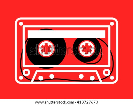 Single clear white outlined cassette vector with loose recording tape on spindles over red background - stock vector
