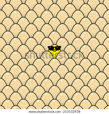 Single Cool Yellow Chick in Sunglasses Surrounded by Identical Brown Eggs - stock vector