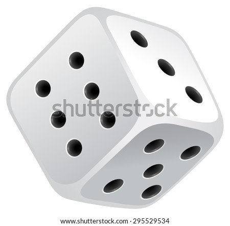 Single dice with black dots - stock vector