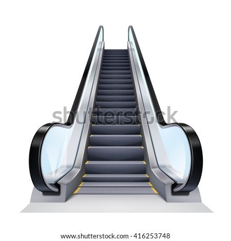 Single escalator on white background realistic isolated vector illustration - stock vector