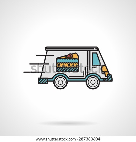 Single flat color design vector icon for dessert delivery van with cake on side in move on white background. - stock vector