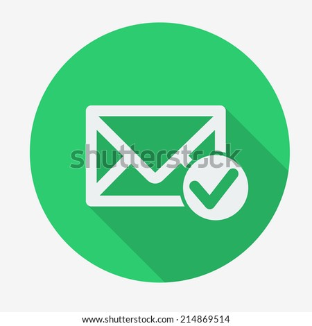 Single flat icon with long shadow for web applications, email icons design. Envelope with accept sign. Vector illustration. - stock vector