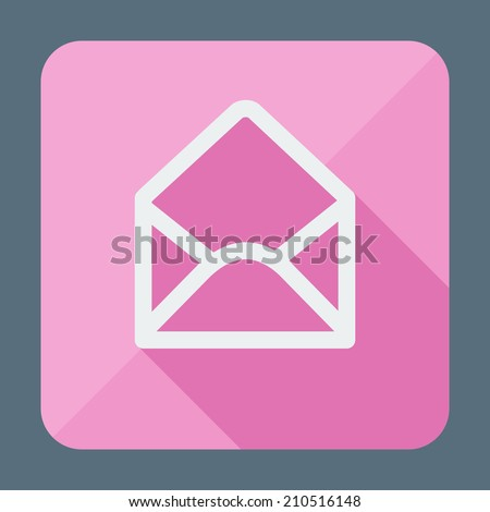 Single flat icon with long shadow. Open envelope. Button for application. Vector illustration, easy paste to any background - stock vector