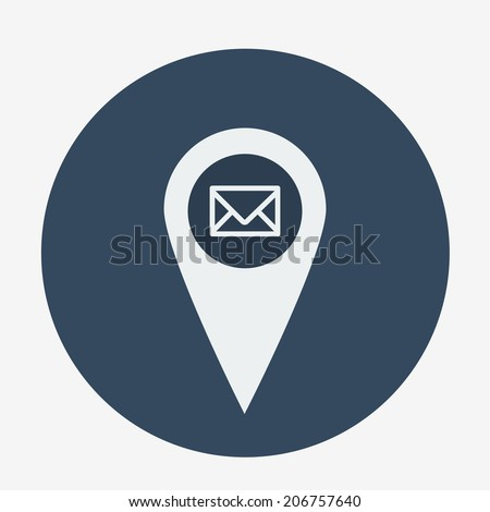 Single geo tag mail icon. vector illustration - stock vector