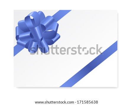 single gift bow of blue color, oblique ribbons on white, vector illustration - stock vector