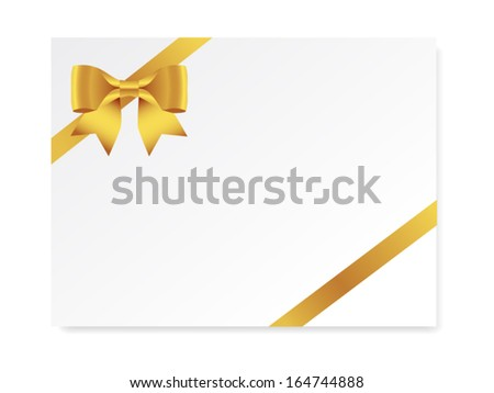 single gift bow of gold color, oblique ribbon on white, vector - stock vector