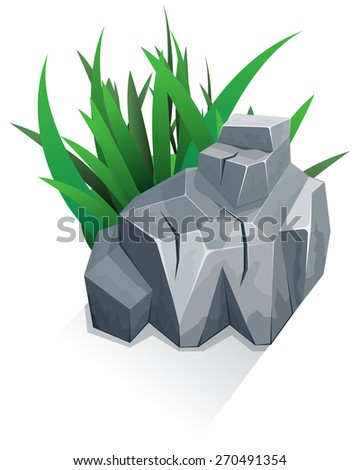 Single granite stone with grass. Vector illustration - stock vector