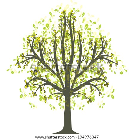 single green tree on white background