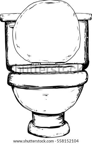 Single hand drawn outlined toilet with open lid from front view