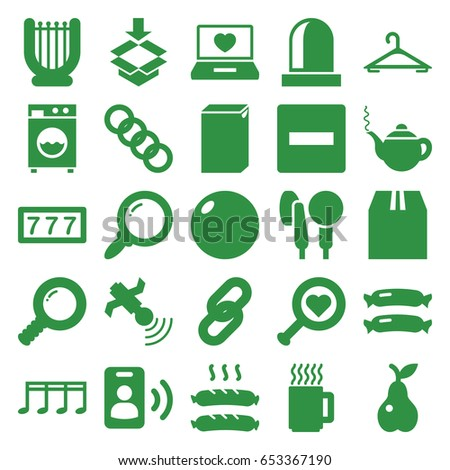 Single icons set. set of 25 single filled icons such as sausage, hanger, teapot, 7 number, washing machine, pear, cargo container, box, laptop with heart, satellite