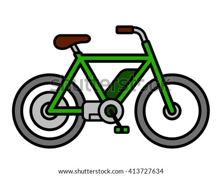 Single isolated empty green mens e-bike bicycle depicting ecological transportation as simple vector icon over white background - stock vector