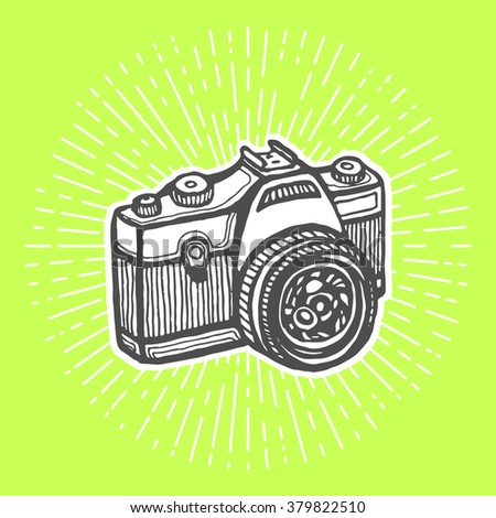 Single-lens reflex camera. Vintage style, hand drawn pen and ink.  Vector clip art for flyer, business card of electronics shop or professional camera store. Retro design element - stock vector