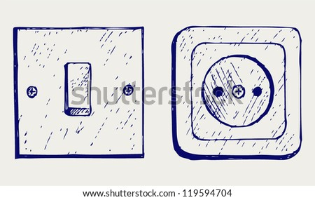 Single light switch and socket. Doodle style - stock vector