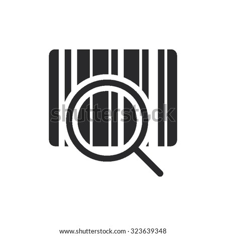 Single Line Icon - Bar Code with Magnifying Glass - stock vector
