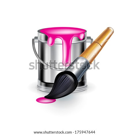 single magenta paint bucket with paint brush isolated - stock vector