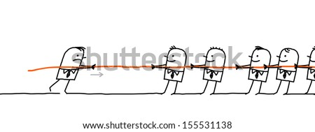 single man fighting against a group  - stock vector