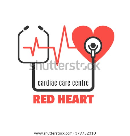 Single medical logo with red heart and stethoscope for cardiac care centre, cardiac clinic. Red heart and stethoscope vector icon for your design.Cardiac care concept illustration.Easy to use and edit - stock vector