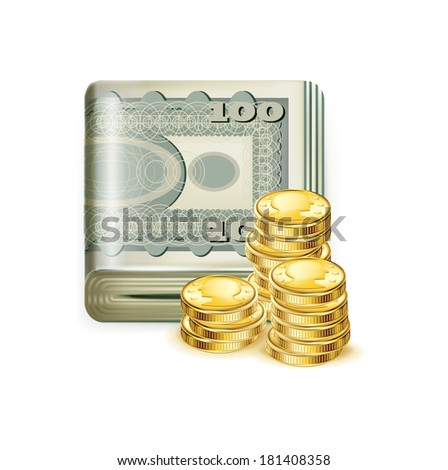 single money stack folded with golden coins isolated on white