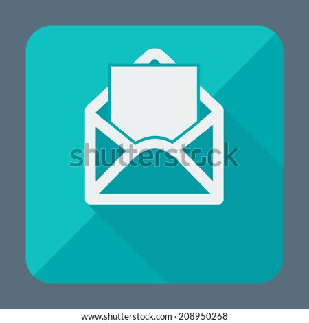 Single open envelope flat icon for web applications, email icons design. Vector illustration. - stock vector