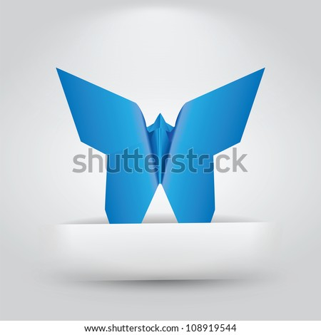 Single Origami Butterfly Sitting in Paper Slit - stock vector