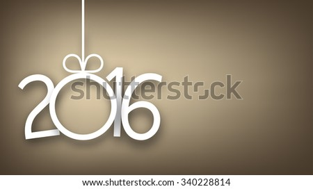 Single paper christmas ball with 2016 new year. Vector golden banner.  - stock vector