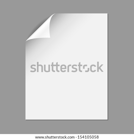 Single Paper Page with Folding Corner - Single piece of paper with folding corner, isolated on a gray background.  EPS10 file with transparency. - stock vector