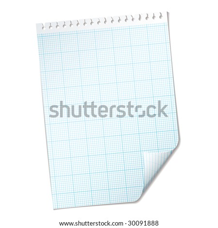 Single piece of paper with graph grid with blue mesh - stock vector