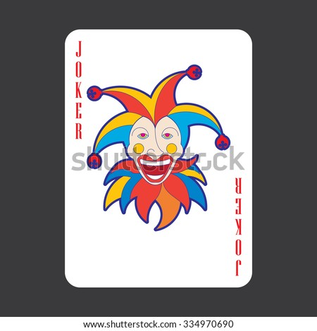 Single playing cards vector: Joker - stock vector