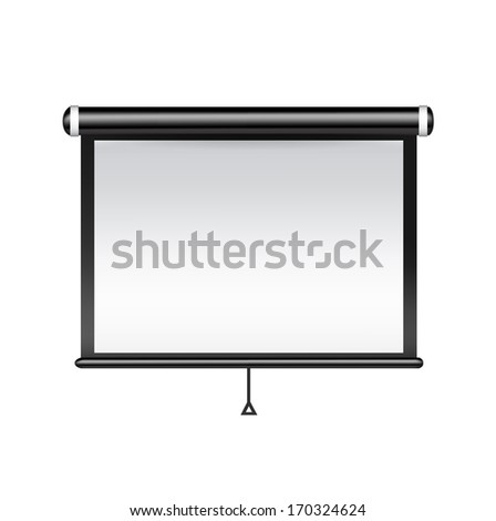 single projector isolated on white background - stock vector