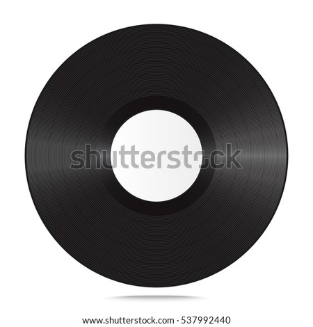 Single realistic vinyl record. Blank mock up isolated on white background. Vector illustration