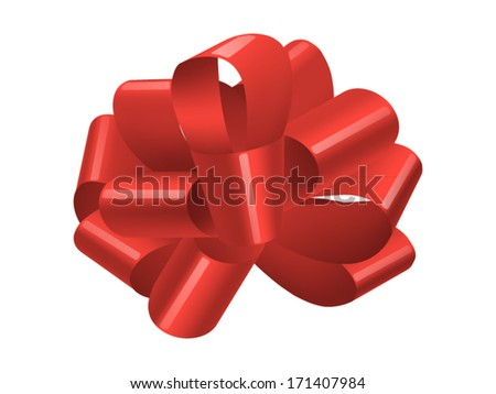 single red gift bow isolated on white, vector - stock vector