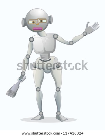 single robot holding brush isolated on white